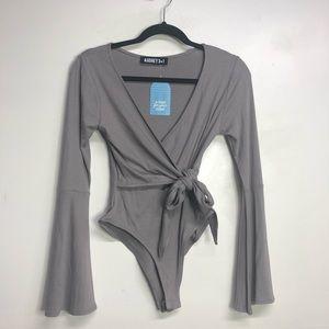Audrey 3+1 grey grey ballerina wrap bell sleeve M